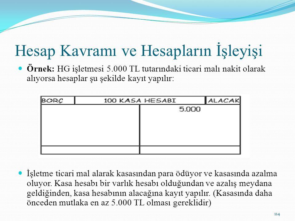 Hesap Kavramı ve Hesapların İşleyişi Örnek: HG işletmesi 5.000 TL tutarındaki ticari malı nakit olarak alıyorsa hesaplar şu şekilde kayıt yapılır: İşl
