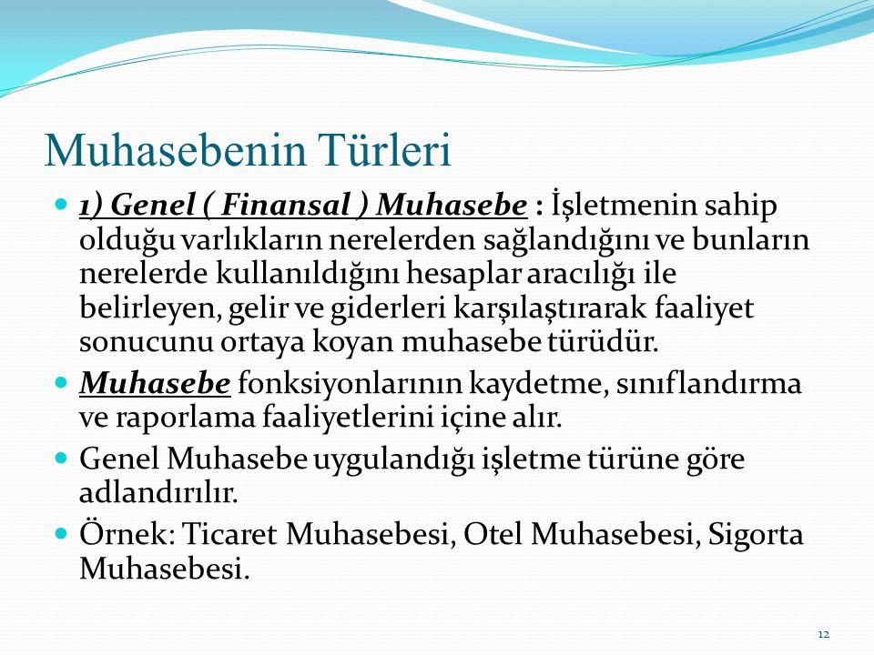 Muhasebenin Türleri 1) Genel ( Finansal ) Muhasebe : İşletmenin sahip olduğu varlıkların nerelerden sağlandığını ve bunların nerelerde kullanıldığını