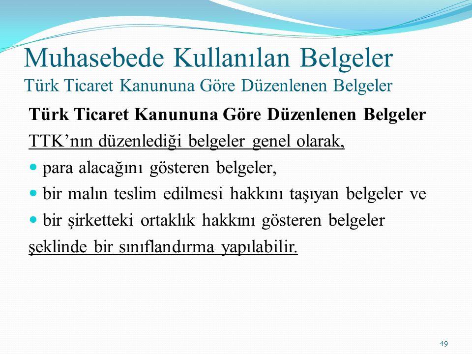 Muhasebede Kullanılan Belgeler Türk Ticaret Kanununa Göre Düzenlenen Belgeler Türk Ticaret Kanununa Göre Düzenlenen Belgeler TTK'nın düzenlediği belge