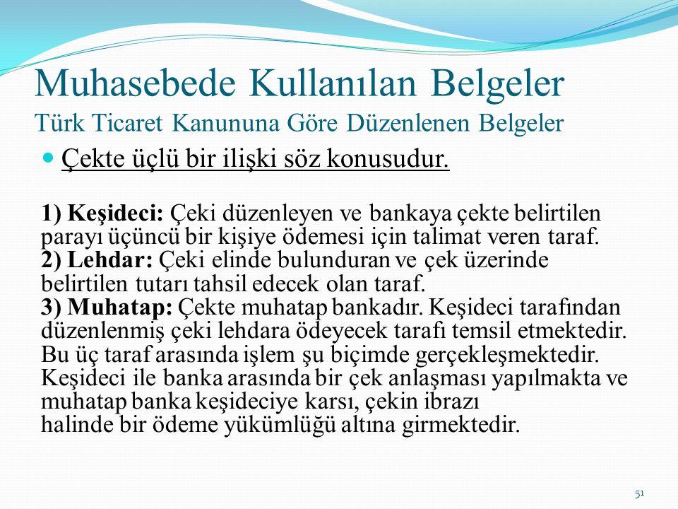 Muhasebede Kullanılan Belgeler Türk Ticaret Kanununa Göre Düzenlenen Belgeler Çekte üçlü bir ilişki söz konusudur. 1) Keşideci: Çeki düzenleyen ve ban