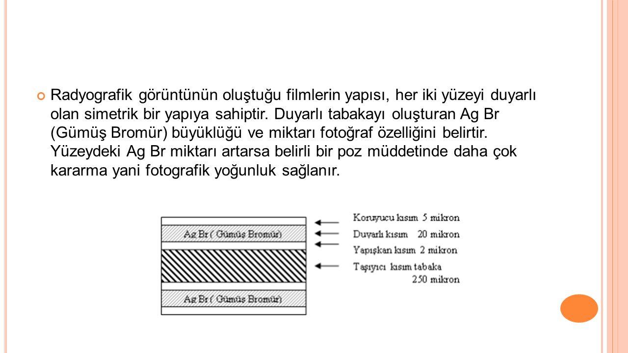 Radyografik görüntünün oluştuğu filmlerin yapısı, her iki yüzeyi duyarlı olan simetrik bir yapıya sahiptir. Duyarlı tabakayı oluşturan Ag Br (Gümüş Br