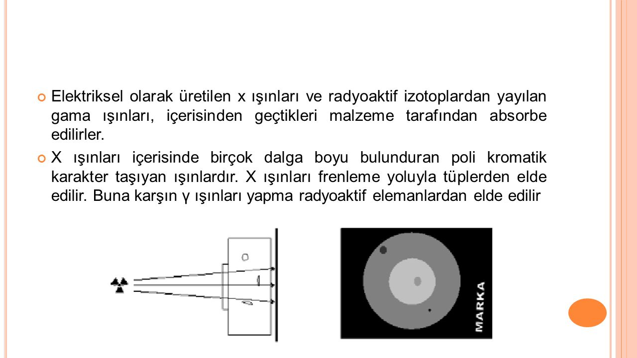 Elektriksel olarak üretilen x ışınları ve radyoaktif izotoplardan yayılan gama ışınları, içerisinden geçtikleri malzeme tarafından absorbe edilirler.