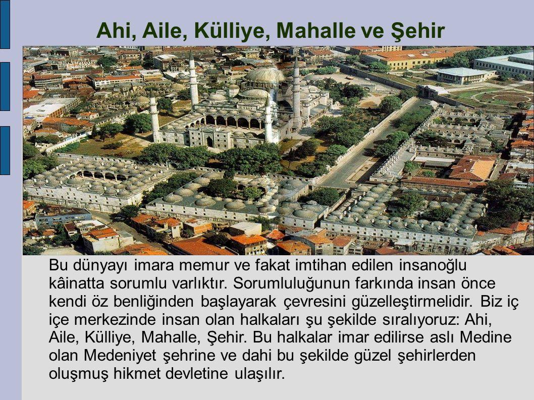 Ahi, Aile, Külliye, Mahalle ve Şehir Şehrin bir taşı bile yerinden oynasa düzen bozulur.