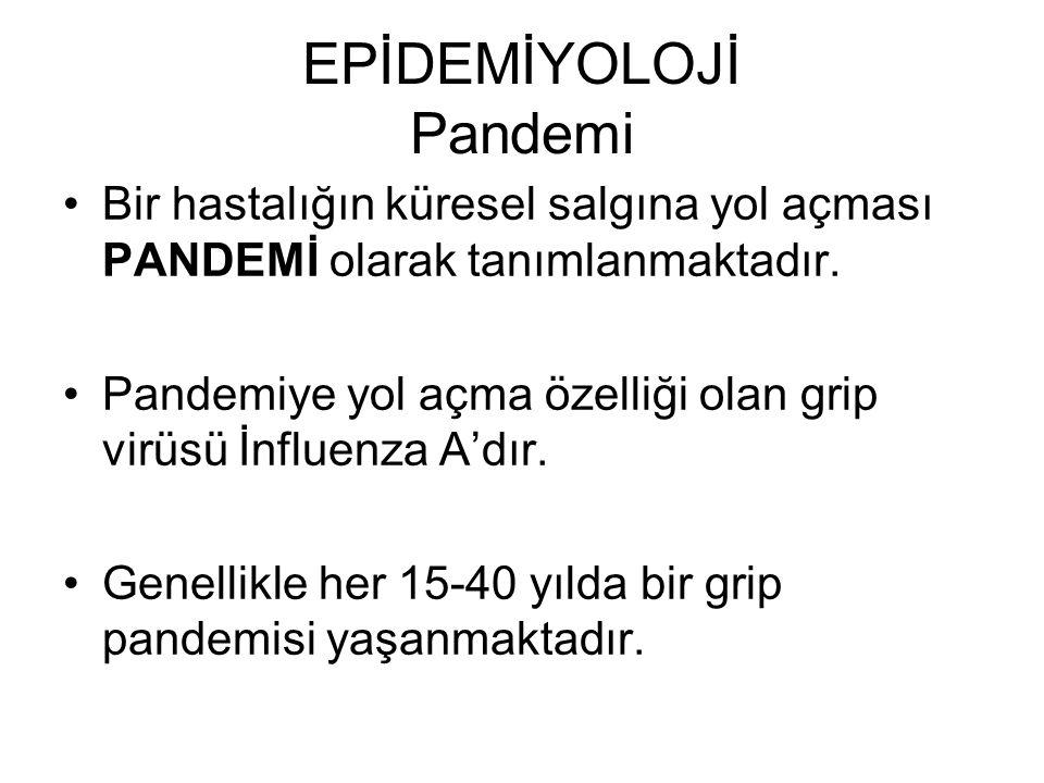 EPİDEMİYOLOJİ Pandemi Bir hastalığın küresel salgına yol açması PANDEMİ olarak tanımlanmaktadır. Pandemiye yol açma özelliği olan grip virüsü İnfluenz