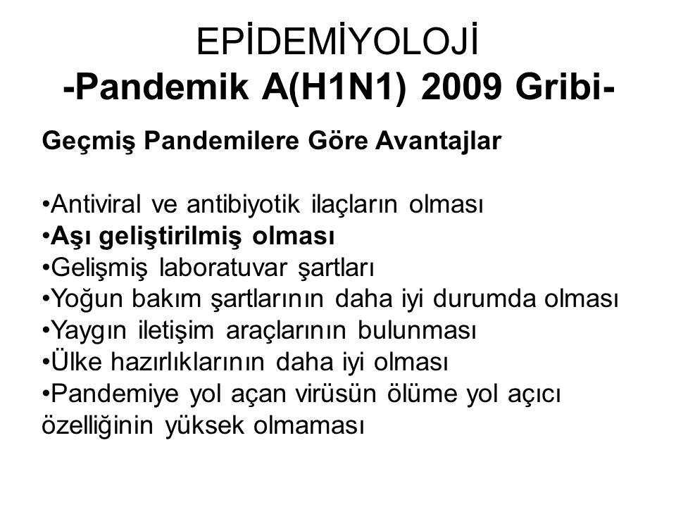 EPİDEMİYOLOJİ -Pandemik A(H1N1) 2009 Gribi- Geçmiş Pandemilere Göre Avantajlar Antiviral ve antibiyotik ilaçların olması Aşı geliştirilmiş olması Geli