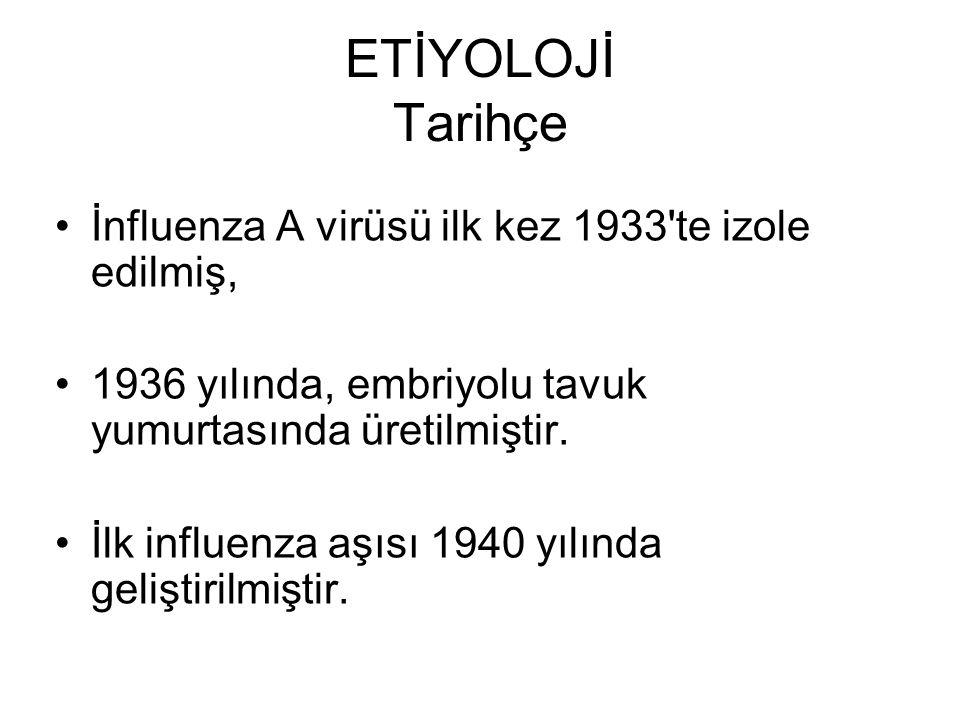 ETİYOLOJİ Tarihçe İnfluenza A virüsü ilk kez 1933'te izole edilmiş, 1936 yılında, embriyolu tavuk yumurtasında üretilmiştir. İlk influenza aşısı 1940