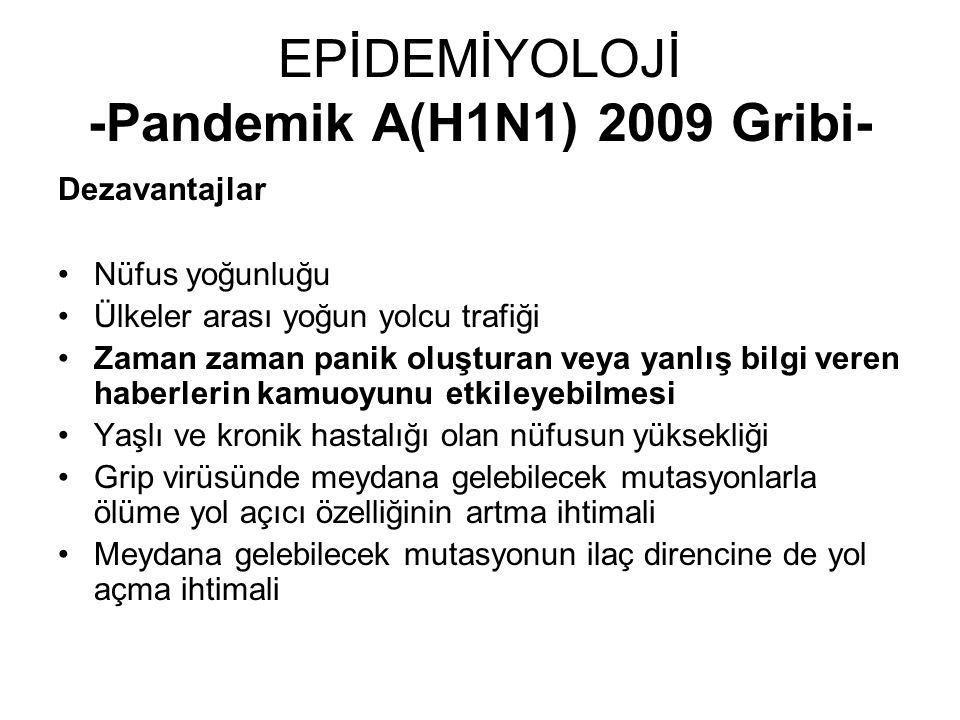 EPİDEMİYOLOJİ -Pandemik A(H1N1) 2009 Gribi- Dezavantajlar Nüfus yoğunluğu Ülkeler arası yoğun yolcu trafiği Zaman zaman panik oluşturan veya yanlış bi