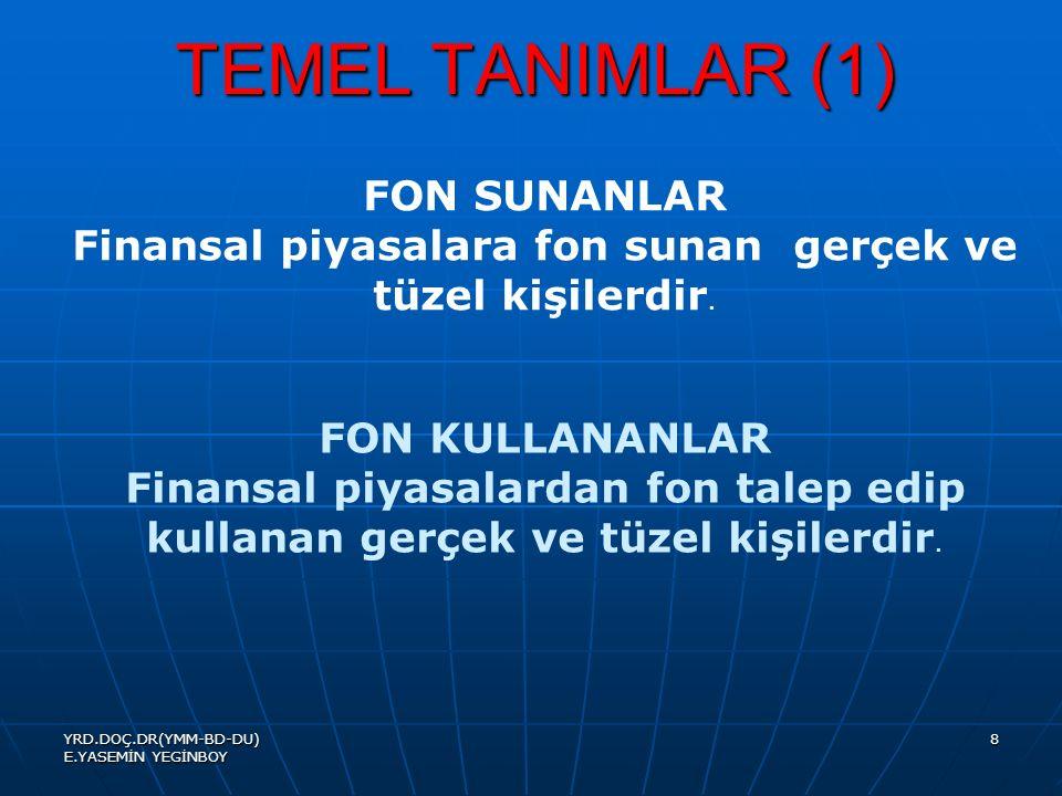 YRD.DOÇ.DR(YMM-BD-DU) E.YASEMİN YEGİNBOY 8 TEMEL TANIMLAR (1) FON SUNANLAR Finansal piyasalara fon sunan gerçek ve tüzel kişilerdir.