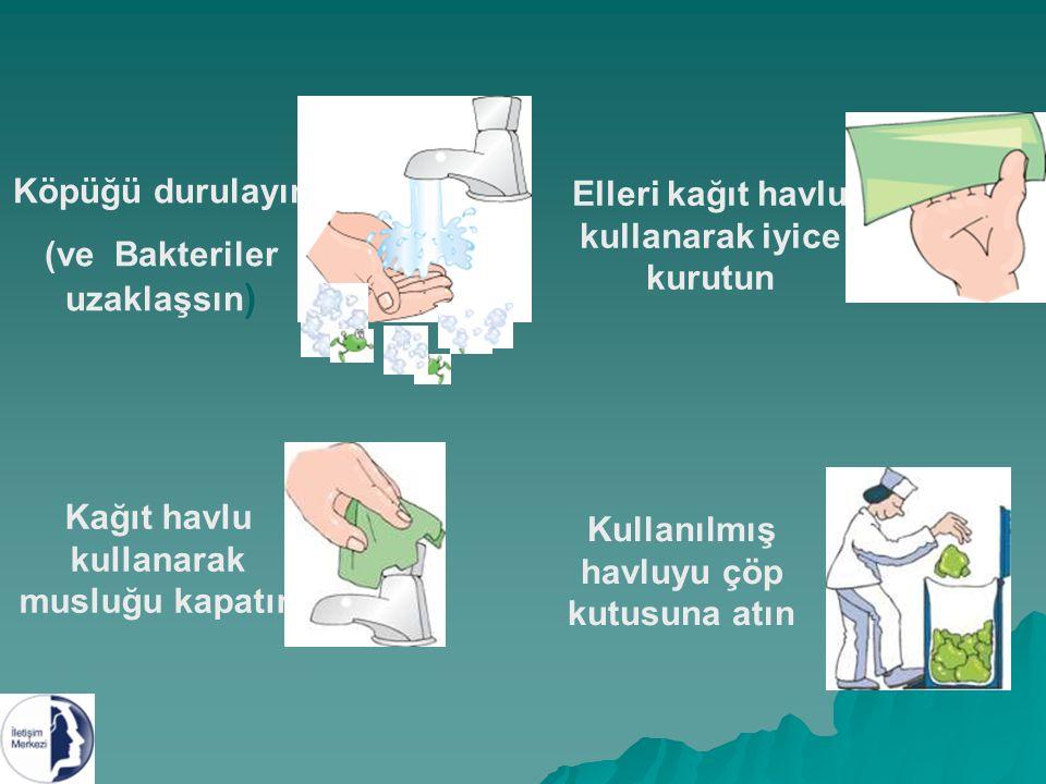 Köpüğü durulayın (ve Bakteriler uzaklaşsın ) Elleri kağıt havlu kullanarak iyice kurutun Kağıt havlu kullanarak musluğu kapatın Kullanılmış havluyu çöp kutusuna atın