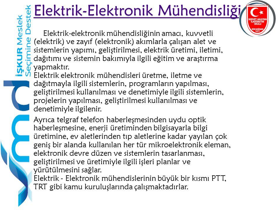 15 Elektrik-Elektronik Mühendisliği Elektrik-Elektronik Mühendisliği Elektrik-elektronik mühendisliğinin amacı, kuvvetli (elektrik) ve zayıf (elektronik) akımlarla çalışan alet ve sistemlerin yapımı, geliştirilmesi, elektrik üretimi, iletimi, dağıtımı ve sistemin bakımıyla ilgili eğitim ve araştırma yapmaktır.
