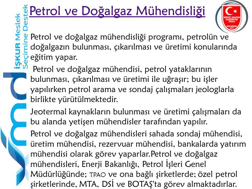 23 Petrol ve Doğalgaz Mühendisliği Petrol ve Doğalgaz Mühendisliği Petrol ve doğalgaz mühendisliği programı, petrolün ve doğalgazın bulunması, çıkarıl
