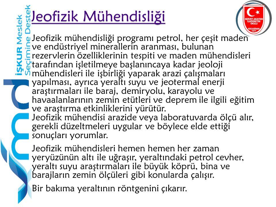32 Jeofizik mühendisliği programı petrol, her çeşit maden ve endüstriyel minerallerin aranması, bulunan rezervlerin özelliklerinin tespiti ve maden mü