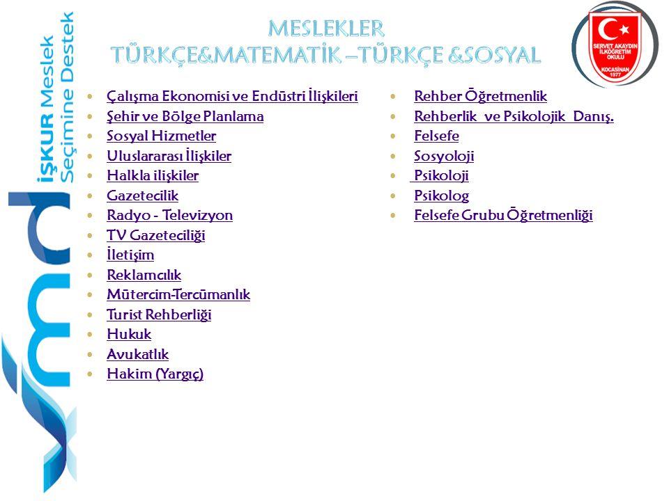 41 Çalışma Ekonomisi ve Endüstri İlişkileri Şehir ve Bölge Planlama Sosyal Hizmetler Uluslararası İlişkiler Halkla ilişkiler Gazetecilik Radyo - Televizyon TV Gazeteciliği İletişim Reklamcılık Mütercim-Tercümanlık Turist Rehberliği Hukuk Avukatlık Hakim (Yargıç) Rehber Öğretmenlik Rehberlik ve Psikolojik Danış.
