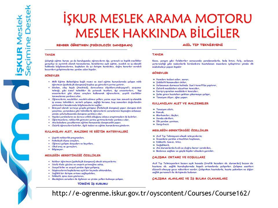 İŞKUR MESLEK ARAMA MOTORU MESLEK HAKKINDA BİLGİLER http://e-ogrenme.iskur.gov.tr/oyscontent/Courses/Course162/