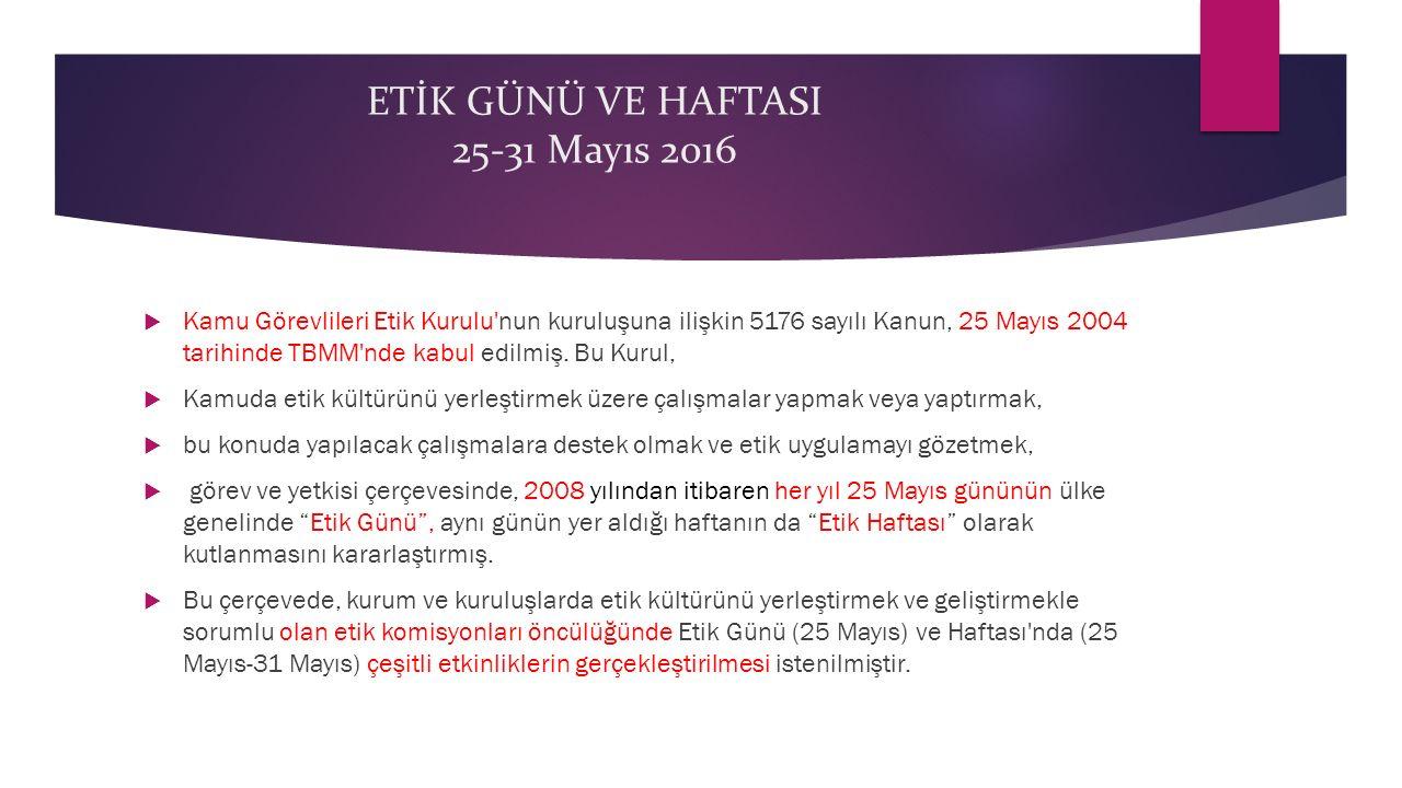 ETİK GÜNÜ VE HAFTASI 25-31 Mayıs 2016  Kamu Görevlileri Etik Kurulu'nun kuruluşuna ilişkin 5176 sayılı Kanun, 25 Mayıs 2004 tarihinde TBMM'nde kabul