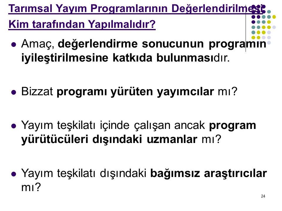 24 Tarımsal Yayım Programlarının Değerlendirilmesi Kim tarafından Yapılmalıdır.