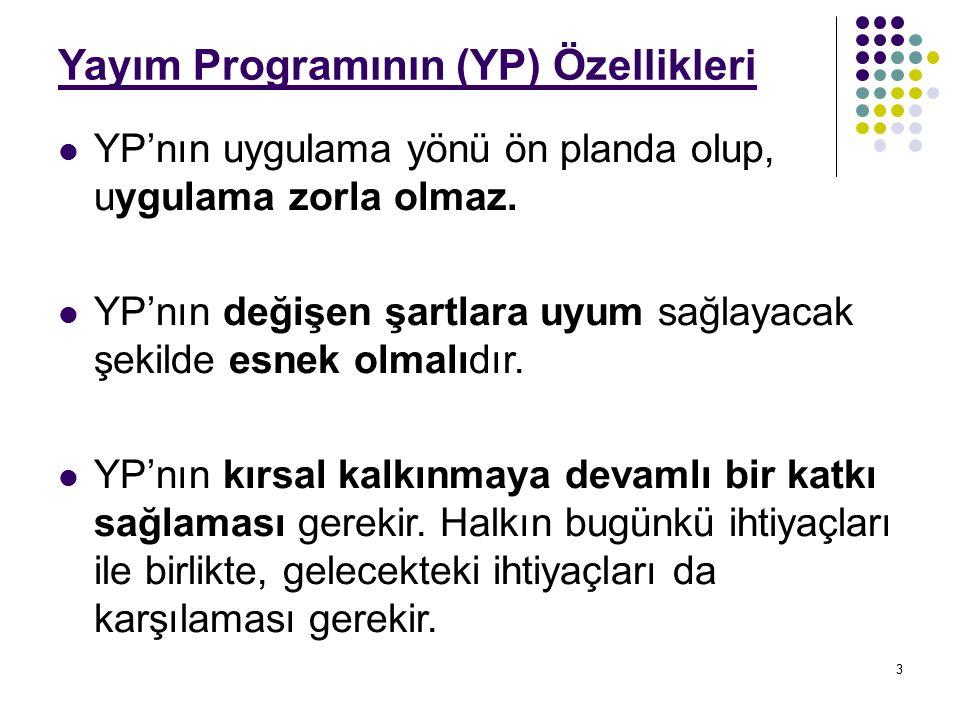 3 Yayım Programının (YP) Özellikleri YP'nın uygulama yönü ön planda olup, uygulama zorla olmaz.