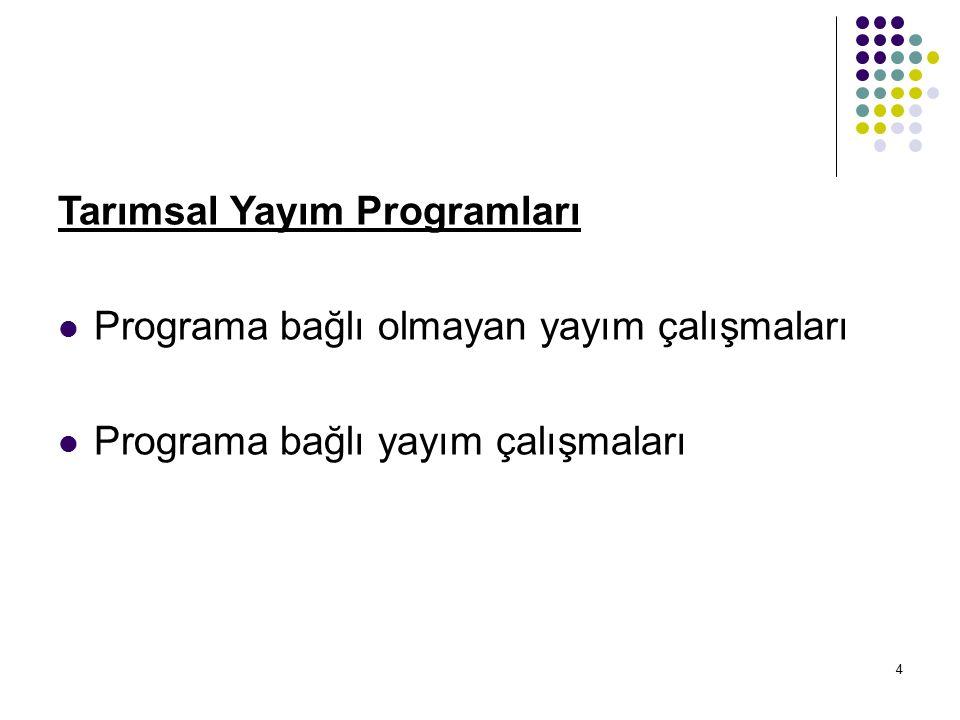 4 Tarımsal Yayım Programları Programa bağlı olmayan yayım çalışmaları Programa bağlı yayım çalışmaları
