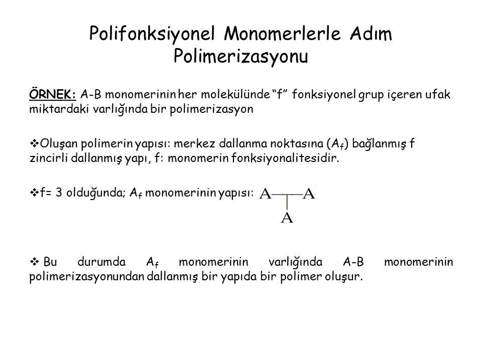 Polifonksiyonel Monomerlerle Adım Polimerizasyonu ÖRNEK: A-B monomerinin her molekülünde f fonksiyonel grup içeren ufak miktardaki varlığında bir polimerizasyon  Oluşan polimerin yapısı: merkez dallanma noktasına (A f ) bağlanmış f zincirli dallanmış yapı, f: monomerin fonksiyonalitesidir.