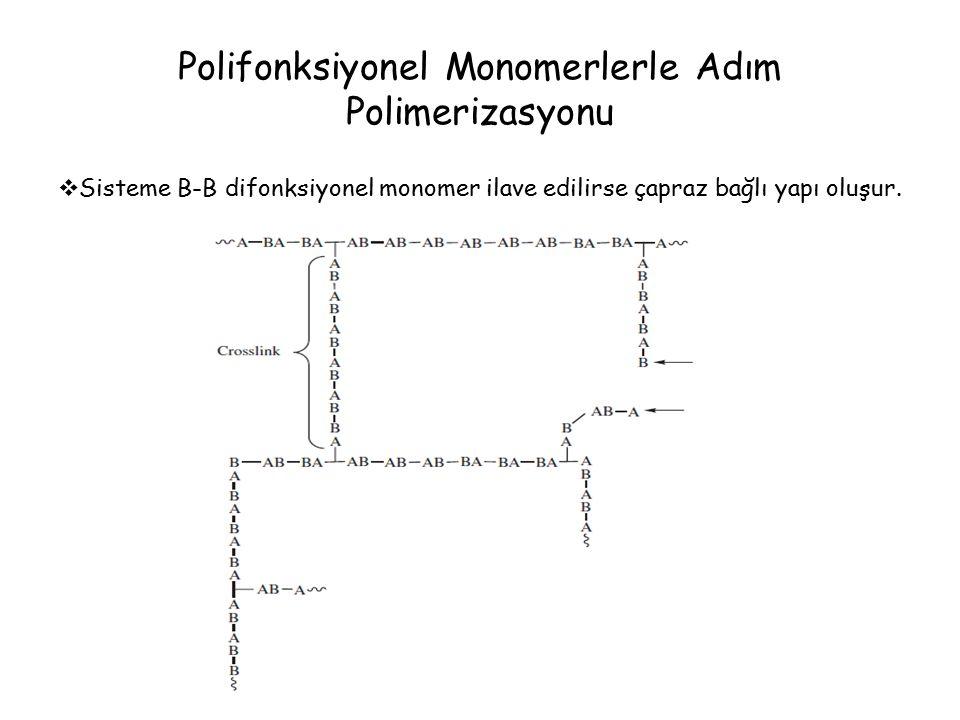 Polifonksiyonel Monomerlerle Adım Polimerizasyonu  Sisteme B-B difonksiyonel monomer ilave edilirse çapraz bağlı yapı oluşur.