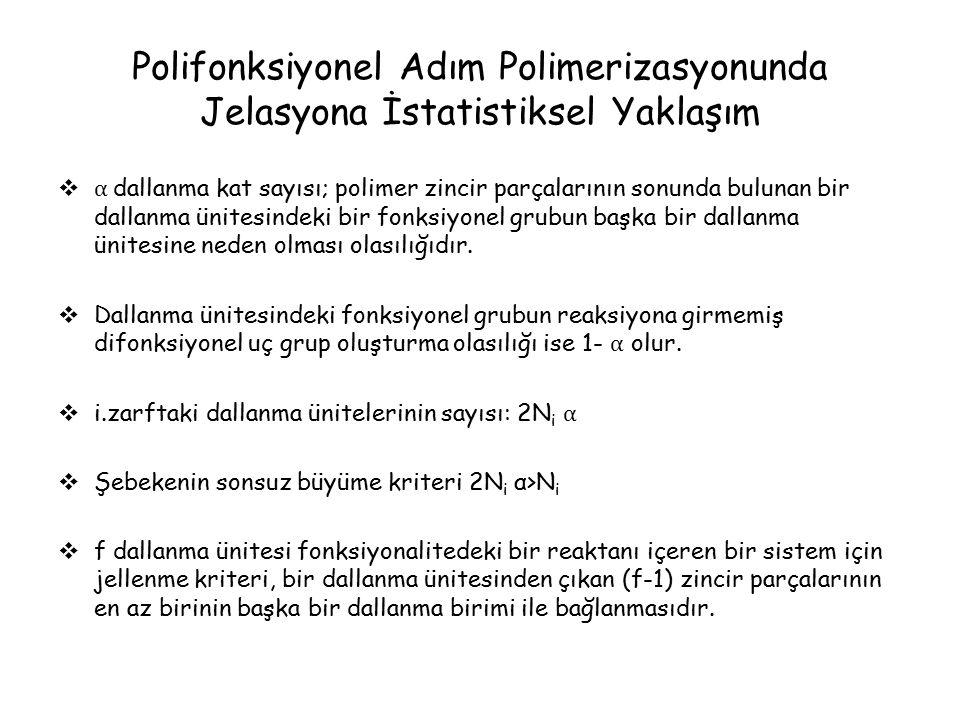Polifonksiyonel Adım Polimerizasyonunda Jelasyona İstatistiksel Yaklaşım  α dallanma kat sayısı; polimer zincir parçalarının sonunda bulunan bir dallanma ünitesindeki bir fonksiyonel grubun başka bir dallanma ünitesine neden olması olasılığıdır.