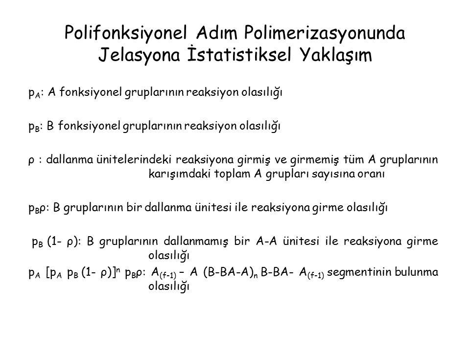 Polifonksiyonel Adım Polimerizasyonunda Jelasyona İstatistiksel Yaklaşım p A : A fonksiyonel gruplarının reaksiyon olasılığı p B : B fonksiyonel gruplarının reaksiyon olasılığı ρ : dallanma ünitelerindeki reaksiyona girmiş ve girmemiş tüm A gruplarının karışımdaki toplam A grupları sayısına oranı p B ρ: B gruplarının bir dallanma ünitesi ile reaksiyona girme olasılığı p B (1- ρ): B gruplarının dallanmamış bir A-A ünitesi ile reaksiyona girme olasılığı p A [p A p B (1- ρ)] n p B ρ: A (f-1) – A (B-BA-A) n B-BA- A (f-1) segmentinin bulunma olasılığı