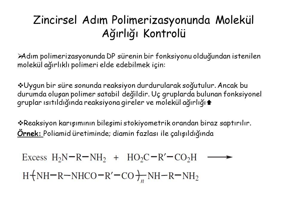Zincirsel Adım Polimerizasyonunda Molekül Ağırlığı Kontrolü  Adım polimerizasyonunda DP sürenin bir fonksiyonu olduğundan istenilen molekül ağırlıklı polimeri elde edebilmek için:  Uygun bir süre sonunda reaksiyon durdurularak soğutulur.