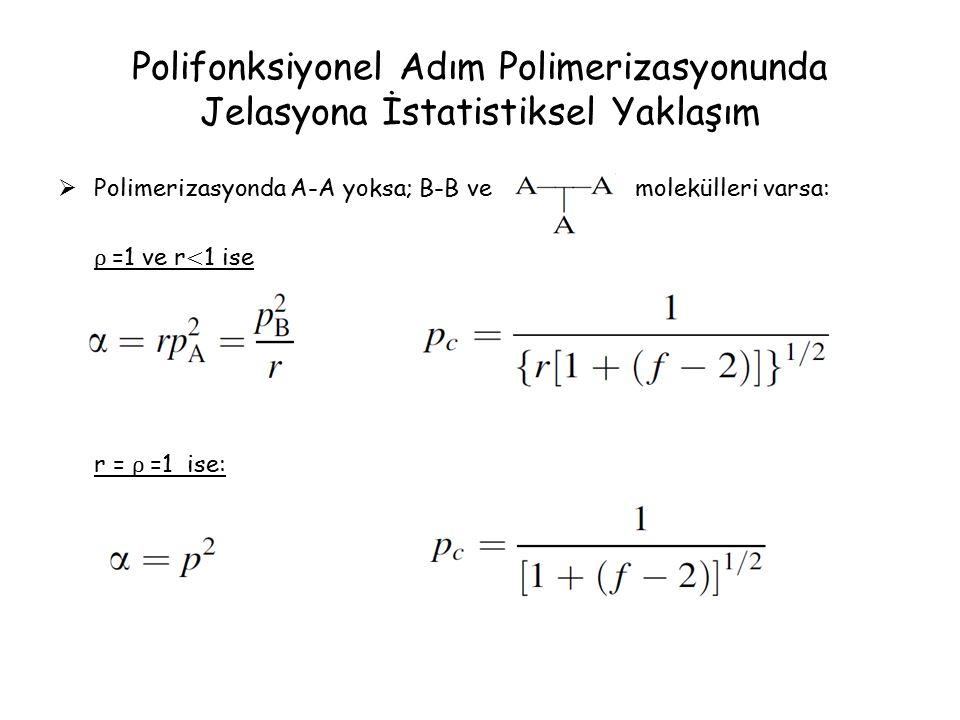 Polifonksiyonel Adım Polimerizasyonunda Jelasyona İstatistiksel Yaklaşım  Polimerizasyonda A-A yoksa; B-B ve molekülleri varsa: ρ =1 ve r < 1 ise r = ρ =1 ise: