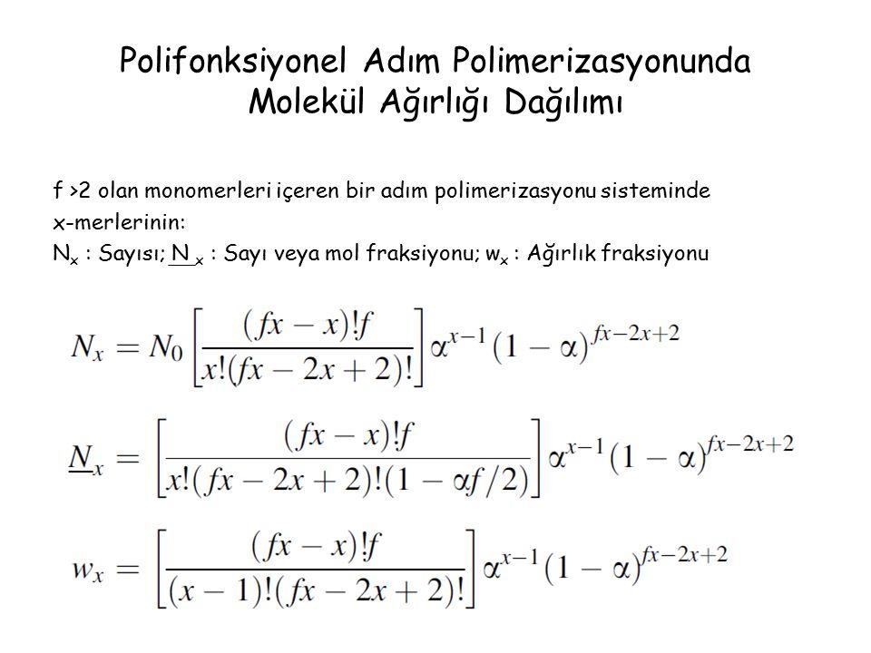 Polifonksiyonel Adım Polimerizasyonunda Molekül Ağırlığı Dağılımı f >2 olan monomerleri içeren bir adım polimerizasyonu sisteminde x-merlerinin: N x : Sayısı; N x : Sayı veya mol fraksiyonu; w x : Ağırlık fraksiyonu