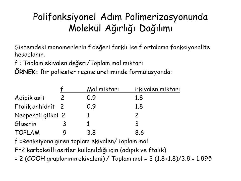 Polifonksiyonel Adım Polimerizasyonunda Molekül Ağırlığı Dağılımı Sistemdeki monomerlerin f değeri farklı ise f ortalama fonksiyonalite hesaplanır.