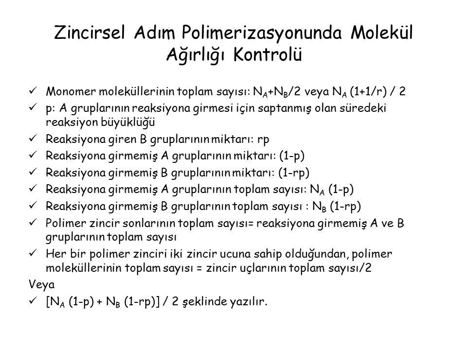 Zincirsel Adım Polimerizasyonunda Molekül Ağırlığı Kontrolü Monomer moleküllerinin toplam sayısı: N A +N B /2 veya N A (1+1/r) / 2 p: A gruplarının reaksiyona girmesi için saptanmış olan süredeki reaksiyon büyüklüğü Reaksiyona giren B gruplarının miktarı: rp Reaksiyona girmemiş A gruplarının miktarı: (1-p) Reaksiyona girmemiş B gruplarının miktarı: (1-rp) Reaksiyona girmemiş A gruplarının toplam sayısı: N A (1-p) Reaksiyona girmemiş B gruplarının toplam sayısı : N B (1-rp) Polimer zincir sonlarının toplam sayısı= reaksiyona girmemiş A ve B gruplarının toplam sayısı Her bir polimer zinciri iki zincir ucuna sahip olduğundan, polimer moleküllerinin toplam sayısı = zincir uçlarının toplam sayısı/2 Veya [N A (1-p) + N B (1-rp)] / 2 şeklinde yazılır.
