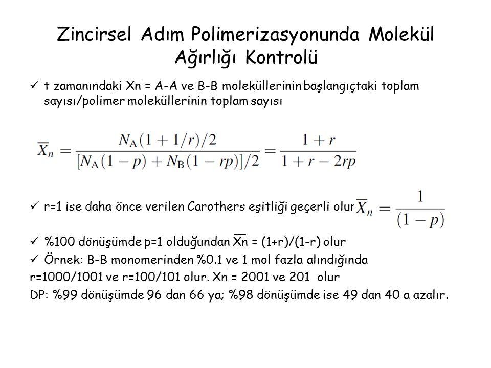 Zincirsel Adım Polimerizasyonunda Molekül Ağırlığı Kontrolü t zamanındaki Xn = A-A ve B-B moleküllerinin başlangıçtaki toplam sayısı/polimer moleküllerinin toplam sayısı r=1 ise daha önce verilen Carothers eşitliği geçerli olur %100 dönüşümde p=1 olduğundan Xn = (1+r)/(1-r) olur Örnek: B-B monomerinden %0.1 ve 1 mol fazla alındığında r=1000/1001 ve r=100/101 olur.