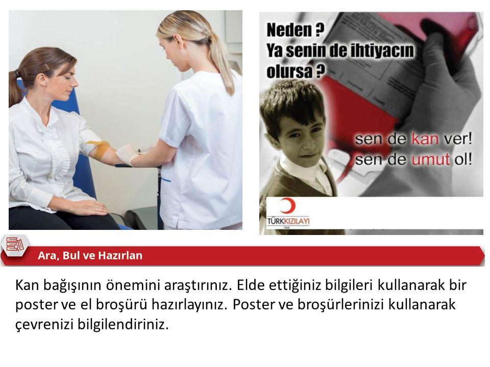 Kan bağışının önemini araştırınız. Elde ettiğiniz bilgileri kullanarak bir poster ve el broşürü hazırlayınız. Poster ve broşürlerinizi kullanarak çevr