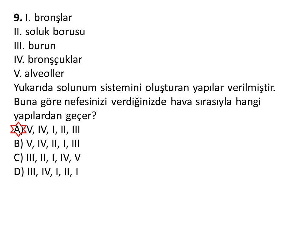 9. I. bronşlar II. soluk borusu III. burun IV. bronşçuklar V. alveoller Yukarıda solunum sistemini oluşturan yapılar verilmiştir. Buna göre nefesinizi