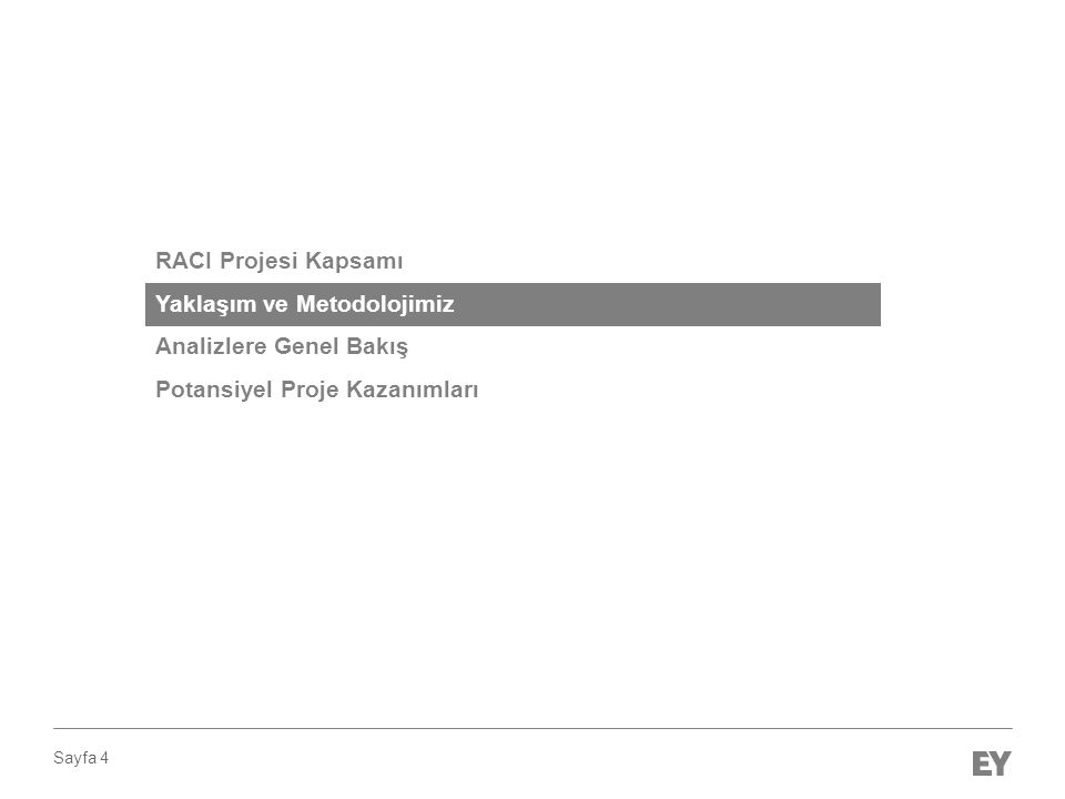 Sayfa 4 RACI Projesi Kapsamı Yaklaşım ve Metodolojimiz Analizlere Genel Bakış Potansiyel Proje Kazanımları