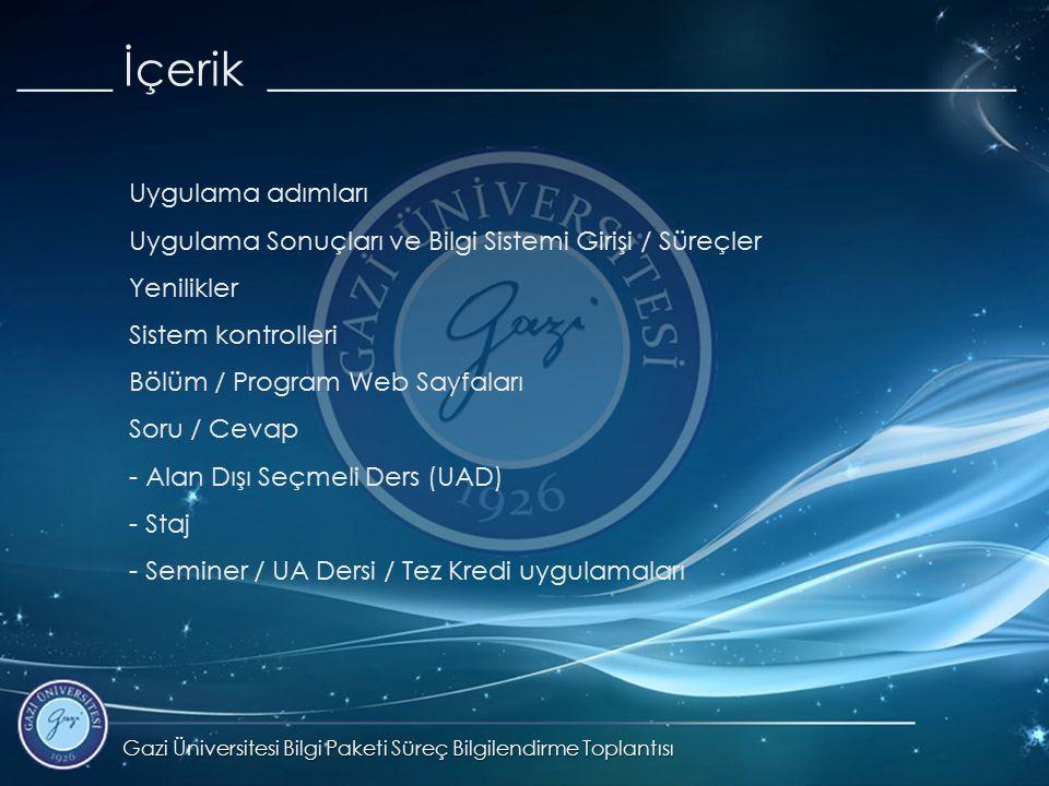 Gazi Üniversitesi Bilgi Paketi Süreç Bilgilendirme Toplantısı ____ İçerik ________________________________ Uygulama adımları Uygulama Sonuçları ve Bilgi Sistemi Girişi / Süreçler Yenilikler Sistem kontrolleri Bölüm / Program Web Sayfaları Soru / Cevap - Alan Dışı Seçmeli Ders (UAD) - Staj - Seminer / UA Dersi / Tez Kredi uygulamaları