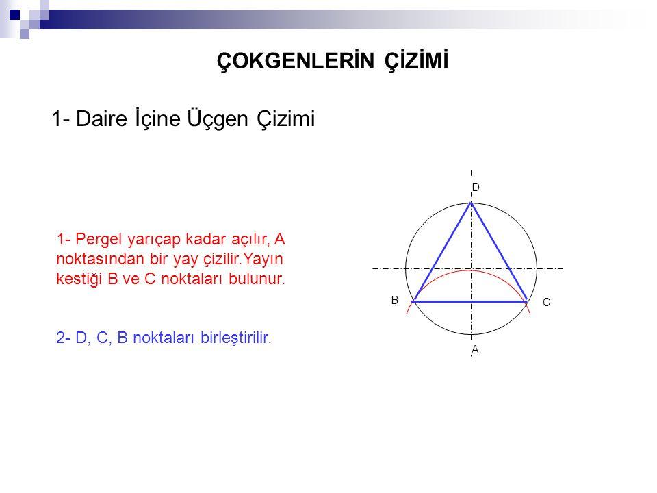 ÇOKGENLERİN ÇİZİMİ 1- Pergel yarıçap kadar açılır, A noktasından bir yay çizilir.Yayın kestiği B ve C noktaları bulunur. 2- D, C, B noktaları birleşti