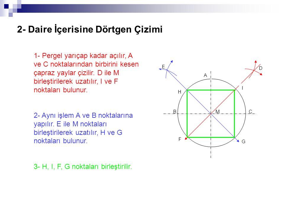 2- Daire İçerisine Dörtgen Çizimi 1- Pergel yarıçap kadar açılır, A ve C noktalarından birbirini kesen çapraz yaylar çizilir. D ile M birleştirilerek