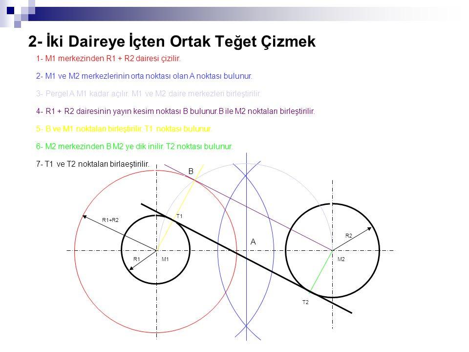2- İki Daireye İçten Ortak Teğet Çizmek 1- M1 merkezinden R1 + R2 dairesi çizilir. 2- M1 ve M2 merkezlerinin orta noktası olan A noktası bulunur. 3- P