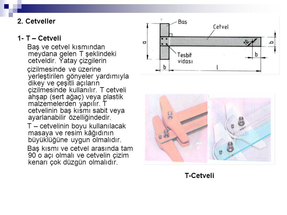 2. Cetveller 1- T – Cetveli Baş ve cetvel kısmından meydana gelen T şeklindeki cetveldir. Yatay çizgilerin çizilmesinde ve üzerine yerleştirilen gönye