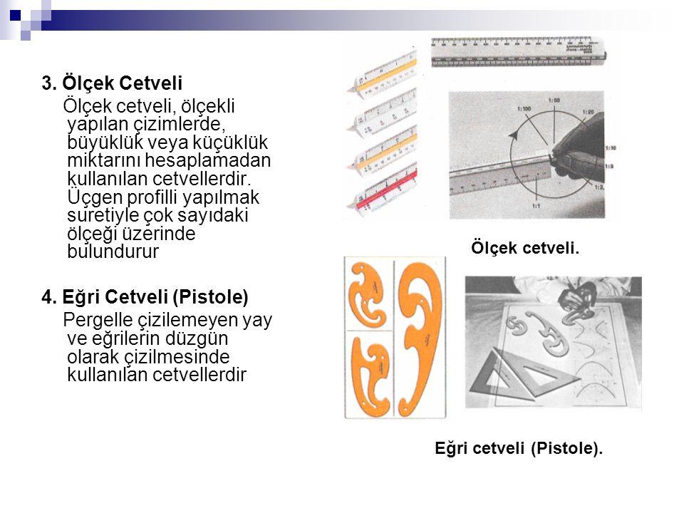 3. Ölçek Cetveli Ölçek cetveli, ölçekli yapılan çizimlerde, büyüklük veya küçüklük miktarını hesaplamadan kullanılan cetvellerdir. Üçgen profilli yapı