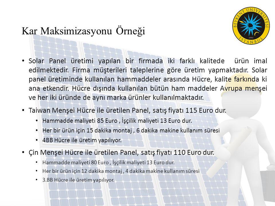 Kar Maksimizasyonu Örneği Solar Panel üretimi yapılan bir firmada iki farklı kalitede ürün imal edilmektedir.