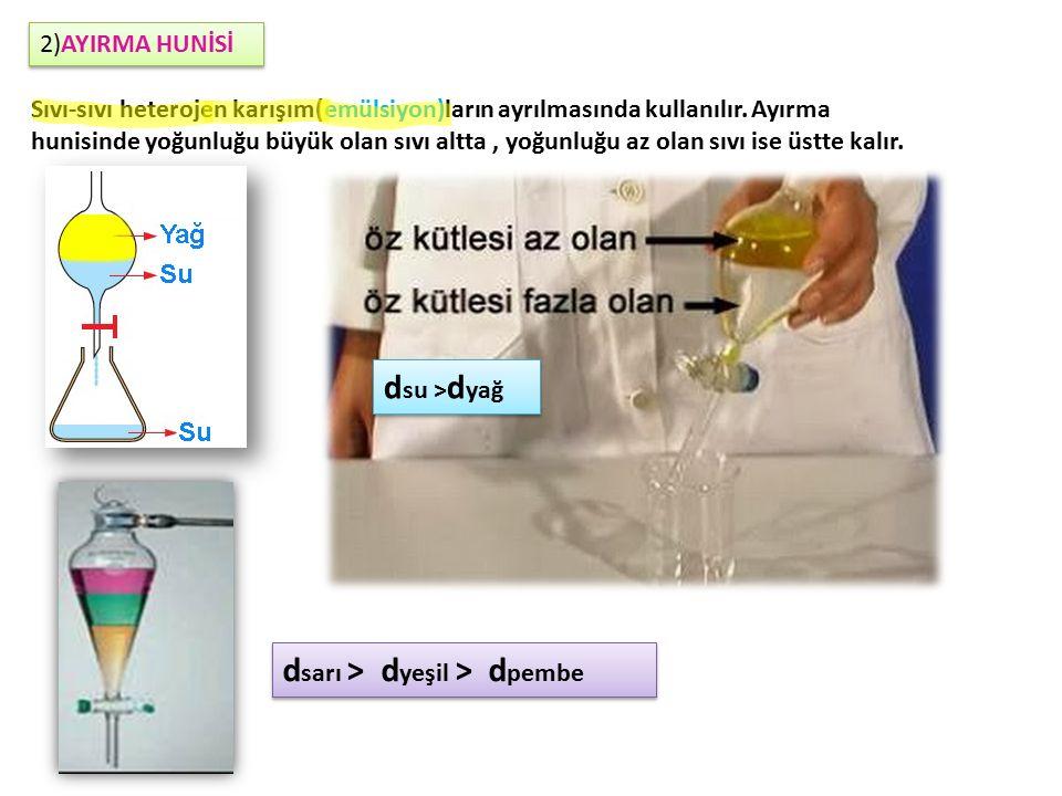 2)AYIRMA HUNİSİ Sıvı-sıvı heterojen karışım(emülsiyon)ların ayrılmasında kullanılır.
