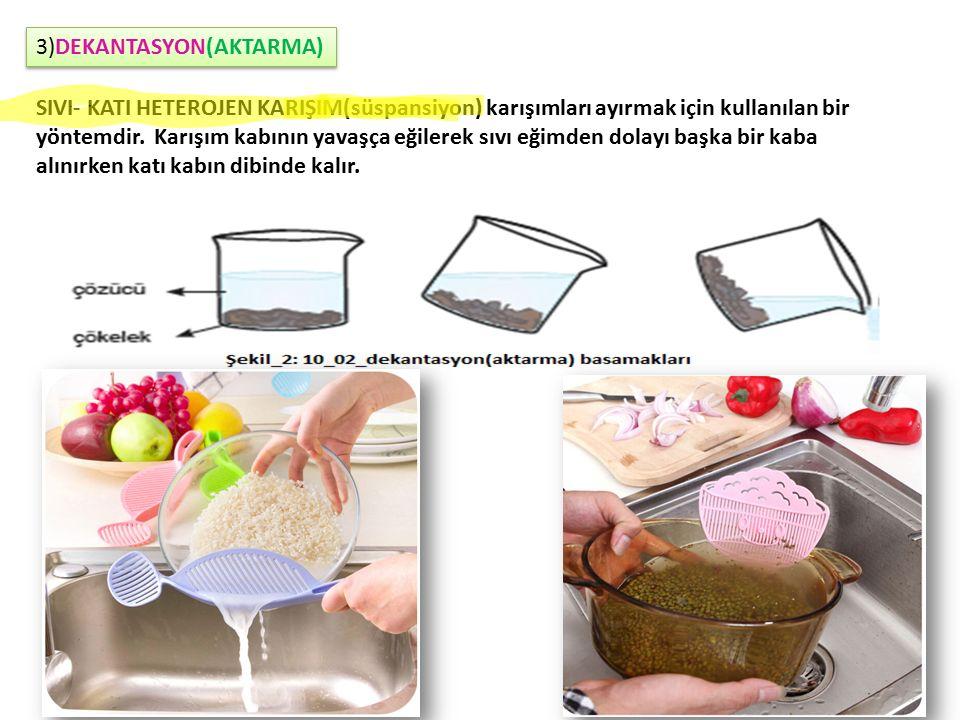3)DEKANTASYON(AKTARMA) SIVI- KATI HETEROJEN KARIŞIM(süspansiyon) karışımları ayırmak için kullanılan bir yöntemdir.