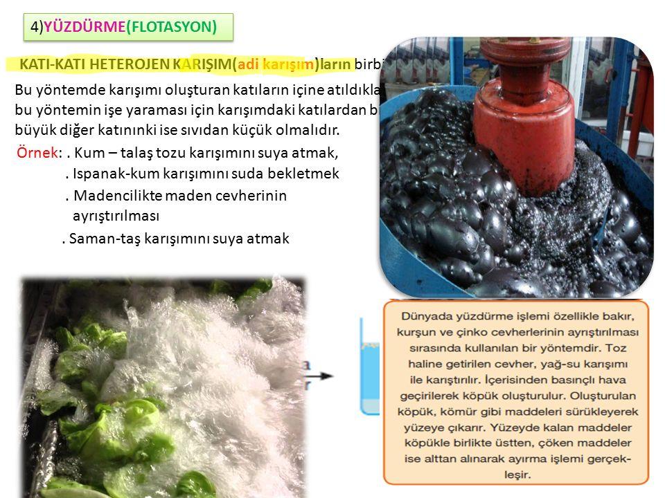 4)YÜZDÜRME(FLOTASYON) KATI-KATI HETEROJEN KARIŞIM(adi karışım)ların birbirinden ayrılmasında kullanılır. Bu yöntemde karışımı oluşturan katıların için