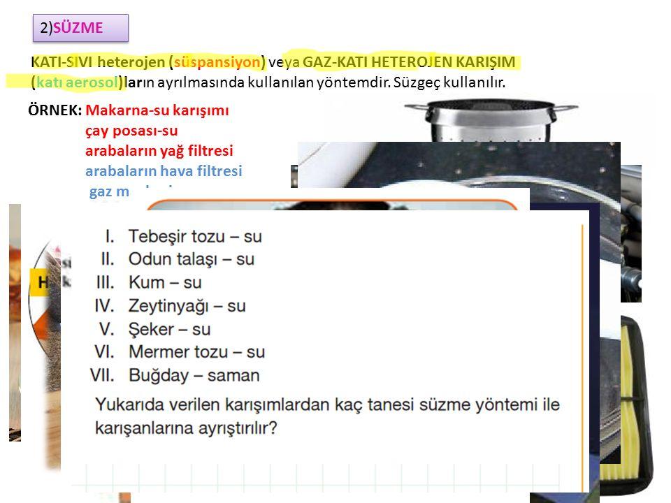 2)AYRIMSAL DAMITMA(DESTİLASYON) SIVI-SIVI HOMOJEN KARIŞIM(çözelti) 'ların ayrılmasında kullanılır.