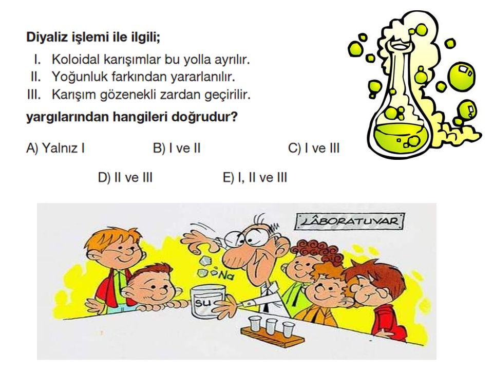 D)KARIŞIMDAKİ BİLEŞENLERİ ÇÖZÜNÜRLÜKLERİ FARKINDAN YARARLANARAK AYIRMA YÖNTEMLERİ 1)ÇÖZME Katı katı HETEROJEN KARIŞIMların(adi karışımlar) bileşenlerinden birini çözen diğerini çözmeyen bir sıvı ekleyerek birbirinden ayırma işlemidir.