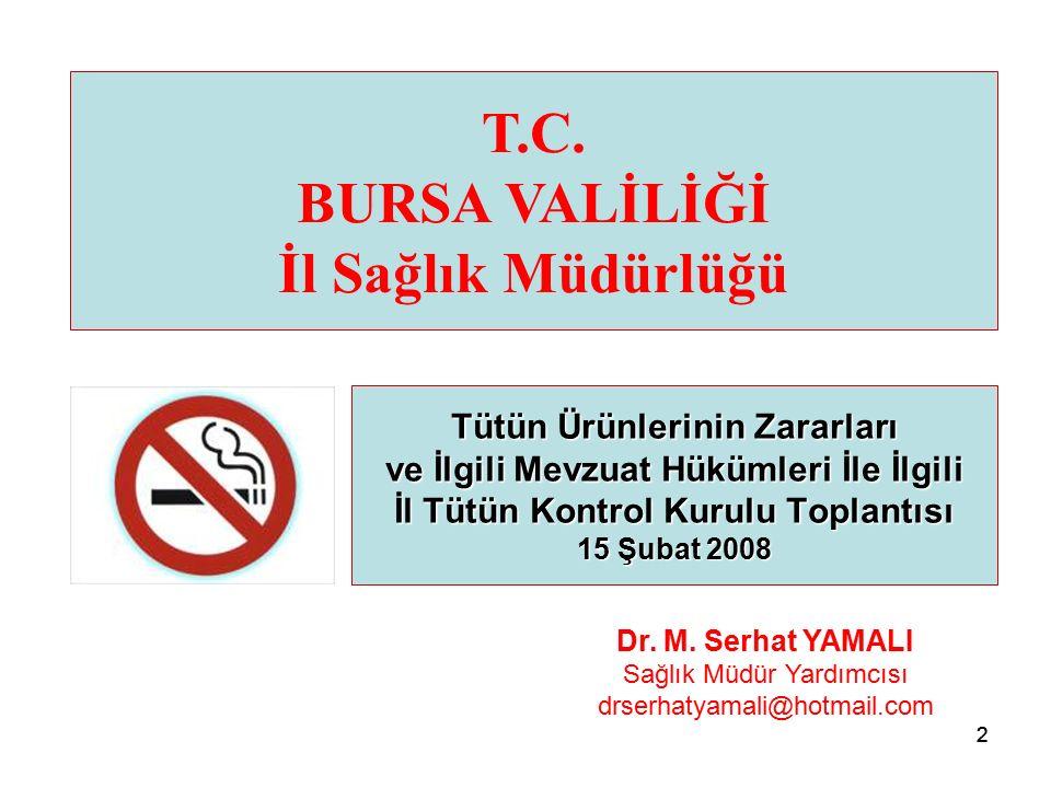 22 Tütün Ürünlerinin Zararları ve İlgili Mevzuat Hükümleri İle İlgili İl Tütün Kontrol Kurulu Toplantısı 15 Şubat 2008 T.C.