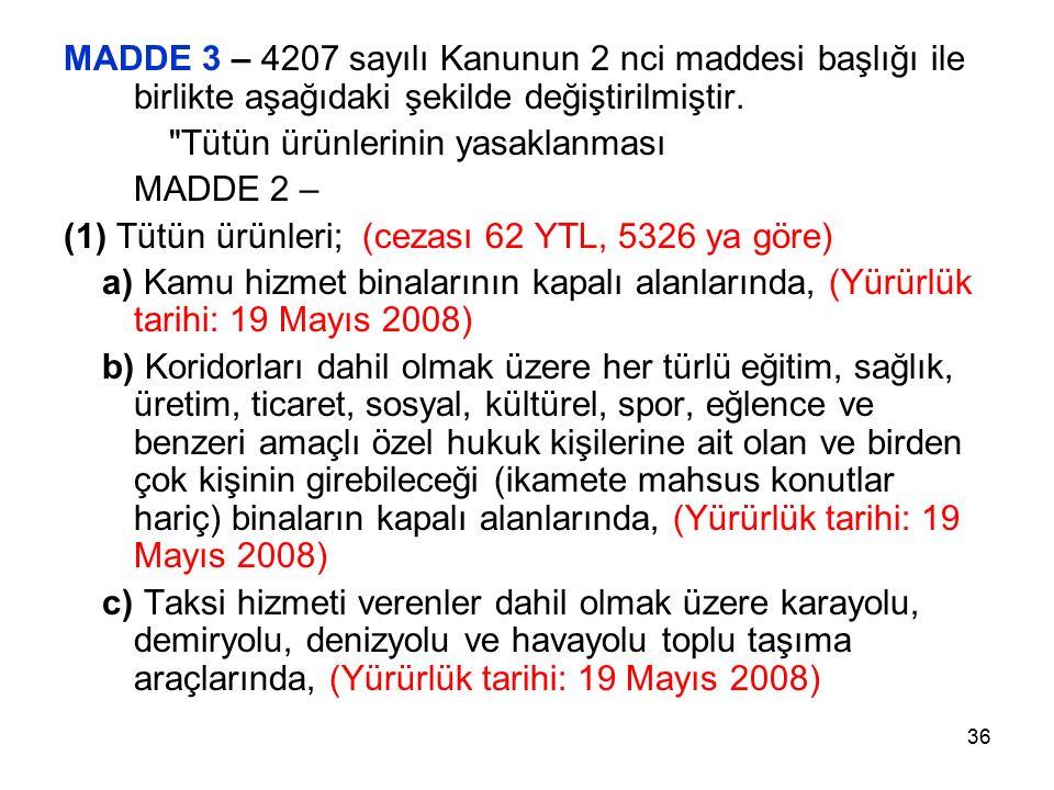 36 MADDE 3 – 4207 sayılı Kanunun 2 nci maddesi başlığı ile birlikte aşağıdaki şekilde değiştirilmiştir.