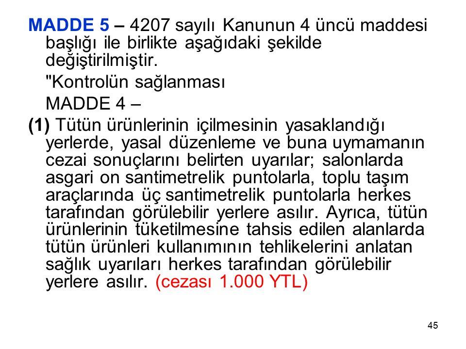 45 MADDE 5 – 4207 sayılı Kanunun 4 üncü maddesi başlığı ile birlikte aşağıdaki şekilde değiştirilmiştir.